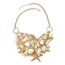amazon com sweet chunky gold tone sea shell starfish pearl
