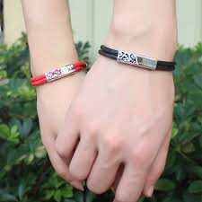 his and hers engraved bracelets ouyan couples bracelets black leather bracelets set
