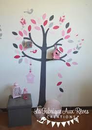 arbre chambre bébé stickers arbre poudré fraise fuchsia framboise nichoir