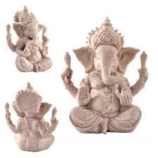 1pc naiyue carved sandstone seated ganesh buddha deity