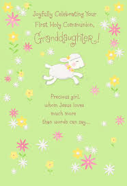 little lamb first holy communion card for granddaughter greeting