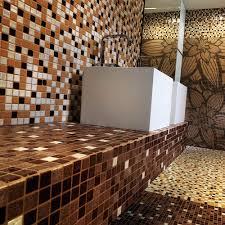 bathroom mosaic tile floor wall glass brown togama
