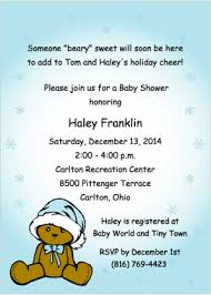 Christmas Baby Shower Invitations - santa bear for boys holiday baby shower invitations