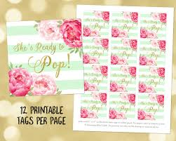 printable she u0027s ready to pop favor tags mint stripes gold