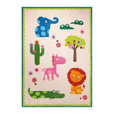 dessin chambre enfant tapis epais dessin animaux pour chambre d enfant zoo créme 70x140