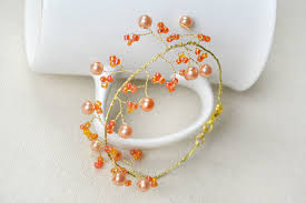 wire bracelet with beads images How to make tree branch wire bracelet with orange beads 6 steps jpg