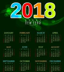 Calendar 2018 Ai Template 2018 Calendar Template Green Bokeh Background Colorful Numbers