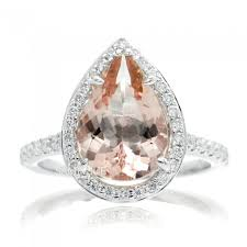 morganite pear engagement ring pear 12x8 halo engagement ring white gold