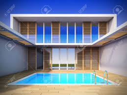 a 3d illustration of modern house in minimalist style stock photo