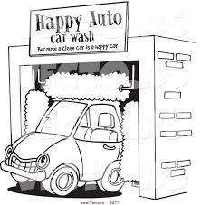 vector of a cartoon car driving through an auto wash coloring