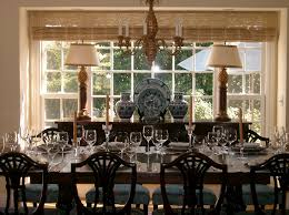 large buffet table dining room traditional with blue and white