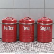good red canister sets kitchen tea coffee sugar kitchen canister