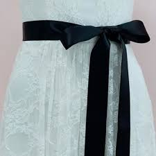 black ribbon belt asymmetric special motif bridal sash ribbon belt lunss couture
