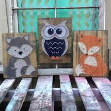 Raccoon Nursery Decor Wood String Owl And Fox Nursery Decor Woodland Baby