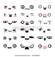 doodle emoticon set lovely kawaii emoticon doodle stock vector 631074218