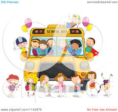party bus clipart cartoon of happy children having a party on a bus royalty