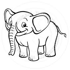 black and white cartoon elephant by colin cramm illustration
