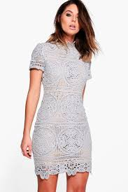 grey bodycon dress boutique crochet lace bodycon dress boohoo