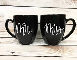 modern calligraphy mr and mrs black coffee mugs black and