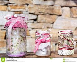 Stone Home Decor Jar Decorated With Roses And Lace On A Stone Background Home