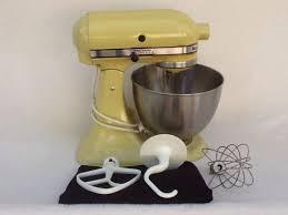 Yellow Kitchen Aid - vintage hobart kitchenaid yellow greenish stand mixer model k45 w