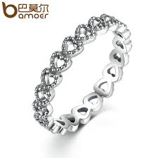 rings cheap bamoer silver color heart to heart ring aaa zirconia
