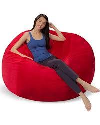 savings on comfy sacks 5 ft memory foam bean bag chair red furry