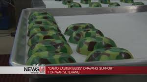 camouflage easter eggs chocolate shop makes camouflage easter eggs for wounded vets