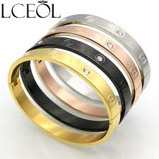 titanium steel love bracelet images Lceol luxury couple bracelet cross screw gifts for women titanium jpg