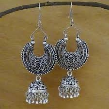earrings image ethnic oxidised jhumka earrings