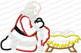 santa kneeling at the manger santa kneeling at manger applique embroidery design kris rhoades