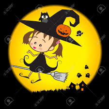 halloween cartoon cute little baby witch vector illustration