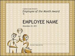 fun certificate templates employee of the month award