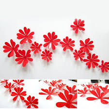 12pcs 3d diy art flowers home decor tv wall stick nursery room