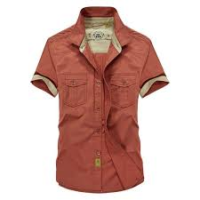 summer casual mens dress shirts short sleeve cotton military style