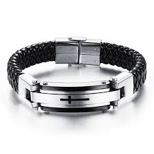 men bracelet cross images Feraco leather bracelet cross mens stainless steel braided bangle jpg