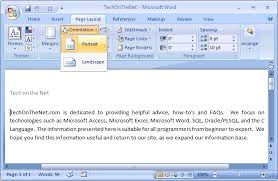 word layout pictures ms word 2007 change the page orientation to portrait
