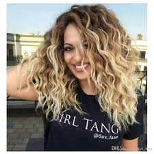 blonde hair with dark roots synthetic curly blonde wig dark roots ombre wig for black white