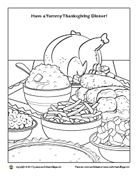 thanksgiving dinner coloring page worksheet