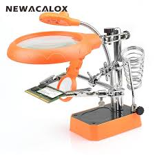 magnifier with led light newacalox helping hand magnifier led light welding repair tools