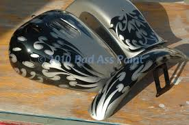custom airbrush paint motorcycle black and gray flames design