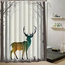 badezimmer vorhang deer duschvorhang wald stoff 3d druck tier vorhang für kinder