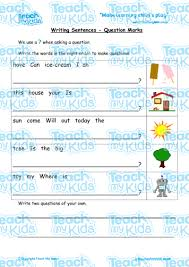 writing sentences question marks teach my kids