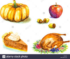 thanksgiving vector art thanksgiving day set with roasted turkey grape pumpkin acorns