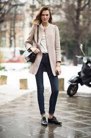 women u0027s beige coat beige dress shirt navy skinny jeans black