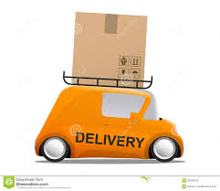 box car clipart delivery orange mini cartoon car with a box stock vector image