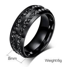 titanium jewelry rings images Hot quality black titanium steel rings men diamond jewelry rings jpg