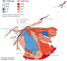 Cartogram Map Results Of The Scottish Referendum Population Cartogram Oc