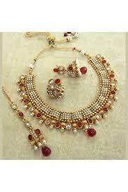 bridal necklace images Copper designer pearl magenta wedding bridal necklace set jpg