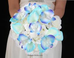 wedding bouquets with seashells blue calla and blue orchid theme bouquet with seashells